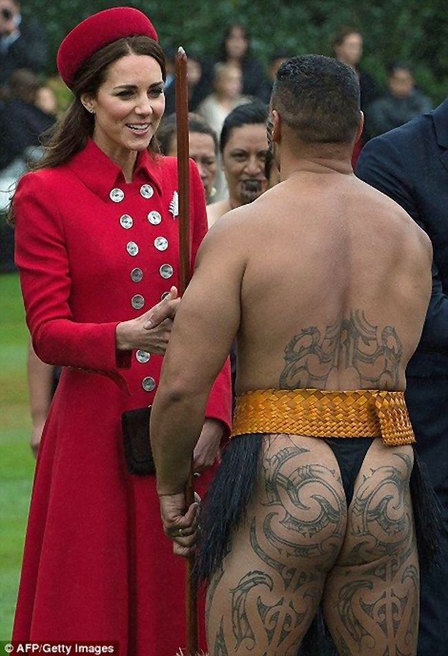 69 best maori project images on pinterest maori tattoos faces and duchess kate flashed her trademark smile as she chatted with one heavily tattooed bare bottomed m4hsunfo