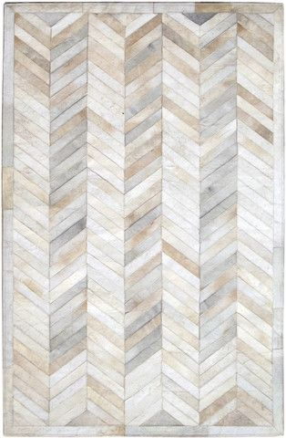 Cream Ivory Geometric Herringbone Pattern Cowhide Patchwork Area Rug