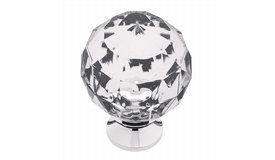 Liberty Kitchen Cabinet Hardware - Victorian Victorian Acrylic Round Faceted Knob with Chrome Base - ( LIB-23741 )  Model #: P30101-CHC-C  Sale Price: $3.18