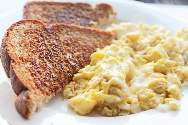 Easy healthy breakfast: Scrambled Eggs with All Natural Colby Jack Cheese and Whole Wheat Toast with Butter (from Clean Eating Weight Loss Meal Plan 110)