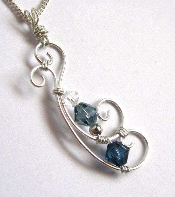 Azure Wave Pendant  Silver Wire Wrapped by FantasiaElegance