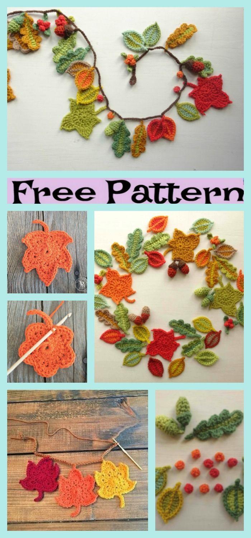 Beautiful Crochet Fall Leaves – Free Patterns