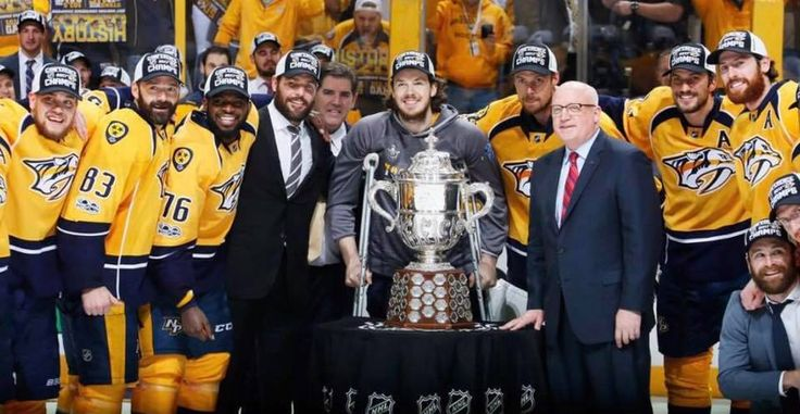 The Nashville Predators after they won the Western Conference Championship!!