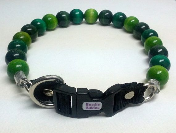 Shades of Green Beaded Dog Collar Buckle Collars by BeadieBabiez