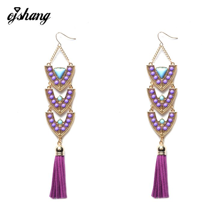 Manerson Long Tassel Earings Fashion ZA Women Bohemain Bead Jewelry Ethnic Boho Big Dangle Statement Earring Wedding Accessory #Affiliate