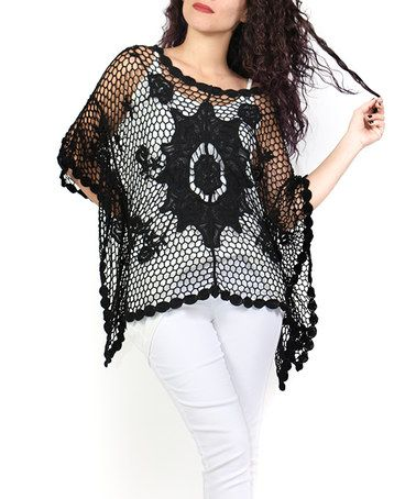 Another great find on #zulily! Black Crochet Elbow-Sleeve Poncho - Plus #zulilyfinds