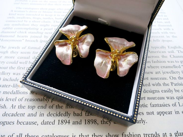 NOW SOLD! Vintage Earrings 1960s Jewellery Flower Earrings Mothers Day Gift Pink Jewelry Enamel Earrings Spring Blossom Wedding Jewelry Gifts Under 10 by LovesVintage43 on Etsy