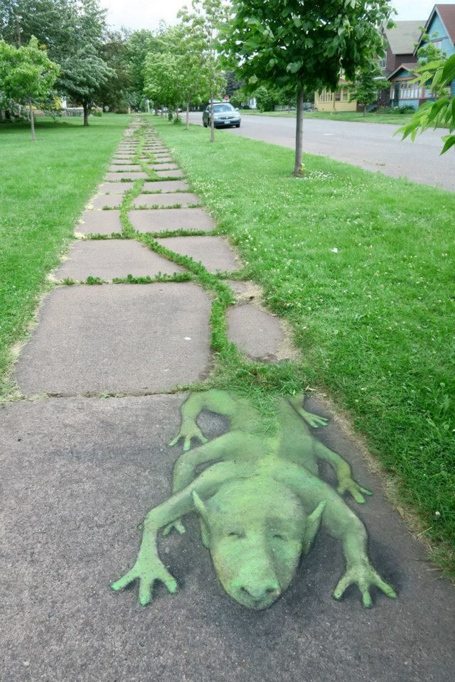 "David Zinn: ""My strangest contribution to the landscape of Thomas Owens Park and Chalk.a.Lot; sidewalks like this one don't pop up just anywhere! — in Two Harbors, Minnesota."" - July 24, 2015"