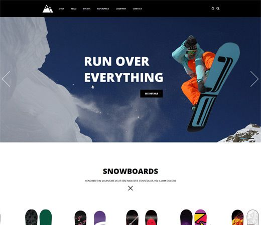 Snowboarding a Flat ECommerce Bootstrap Responsive Web Template