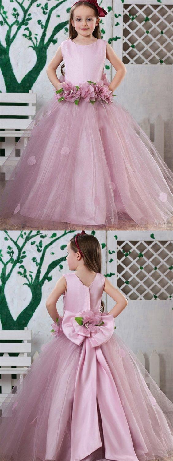 Blush pink girl dress  Chic round neck blush flower girl dress with appliques fashion pink