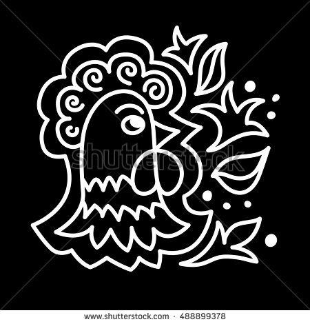 Decorative composition with rooster head flowers and leaves. Vector Illustration.