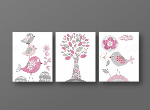 Pink and gray Nursery wall art baby nursery by GalerieAnais, $42.00