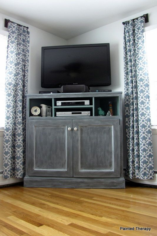 corner media units living room furniture grey with leather sofa build your own get out of the way tv console p diy stand home