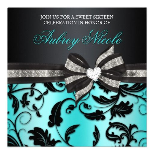 Floral Swirl Sweet Sixteen Invite With Jeweled Bow $1.90