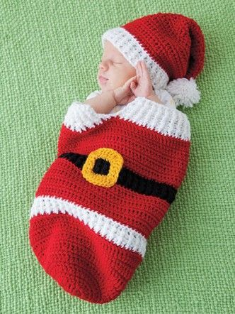35+ Adorable Crochet and Knitted Baby Cocoon Patterns --> Crochet Santa Cocoon & Hat
