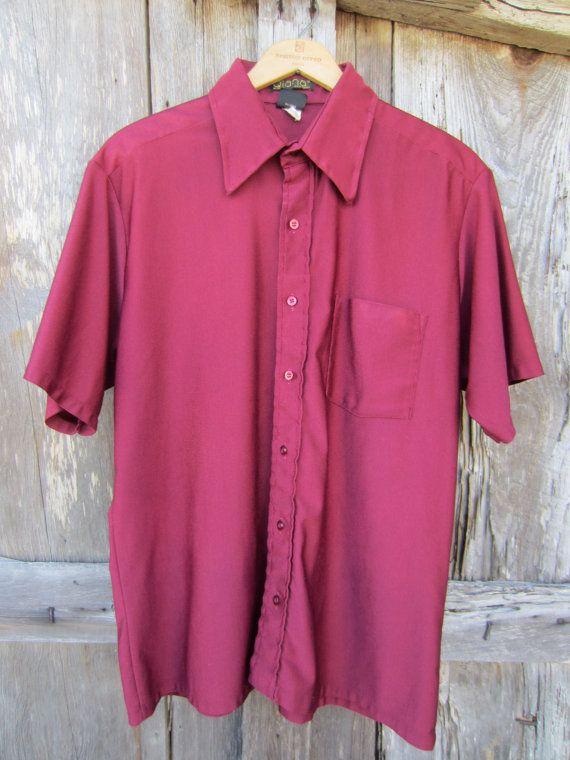 70s Maroon Nylon Button-up Shirt by Qiana, Men's L // Vintage Short Sleeve Straight Hem Rockabilly Shirt