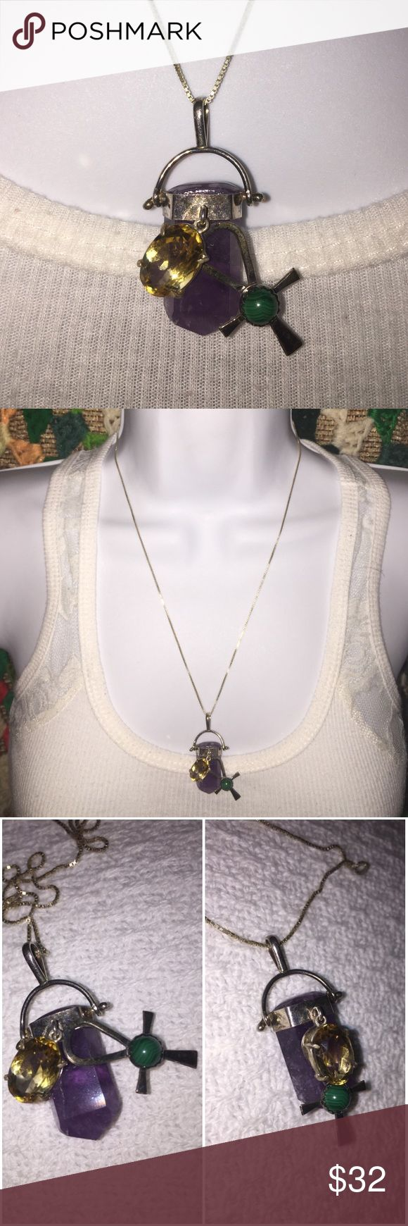 "925 Silver Amethyst Citron Jade Charm Necklace 925 Sterling Silver Genuine Amethyst, Citron, & Jade Charm necklace. Features a swing bar with a Amethyst crystal cut stone; the swing bar is functional & moves. Attached to the Amethyst pendant on front is a oval citron crystal charm pendant with a additional cross pendant with a small round Jade marbled stone in the center. Markings: ""Sterling"", ""925"", a star ""⭐️"" symbol, & number ""303 (or could be ""383"" & Initials ""AR"". Silver swing bar…"