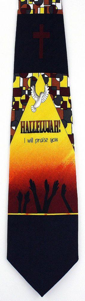 New Hallelujah I Will Praise You Mens Necktie Christian Dove Religious Neck Tie #RobertoCellini #NeckTie