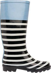 Striped Wellies Blue Black White | Deichmann
