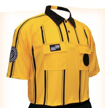 Pro USSF Stripe Shortsleeve Referee Shirt colors: Gold, Black, Blue, Red, and Green