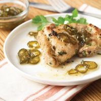 Pan Roasted Chicken Thighs with Candied Jalapeño Confit by @mytexaslife