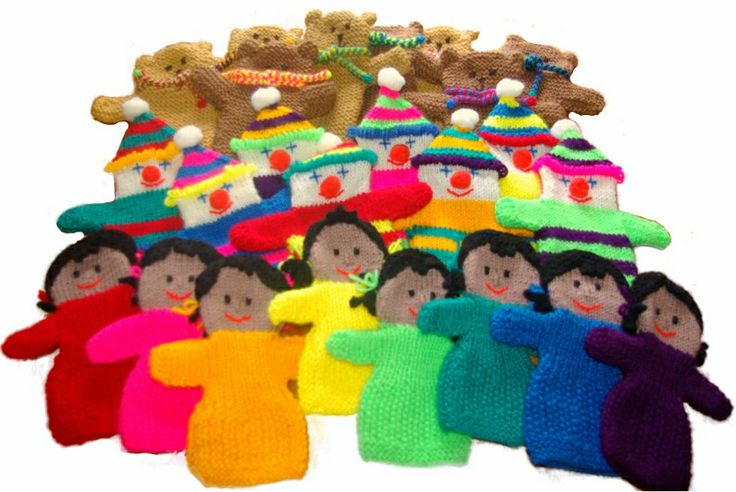 A selection of handpuppets, knitted by Katherine Charles, who has created a number of our patterns on here.