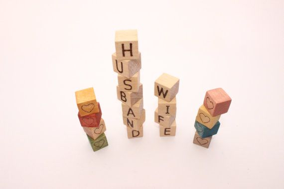 Personalized mini wooden blocks  069 inch  Husband by WoofWoofWood