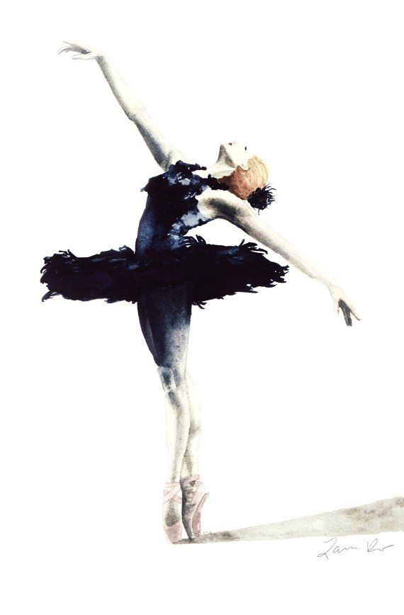 Black Swan Ballerina Feather Tutu Swan Lake - Digital Print Aquarelle de 6 x 9 - Natalie Portman Les Red Shoes Plumes Noir