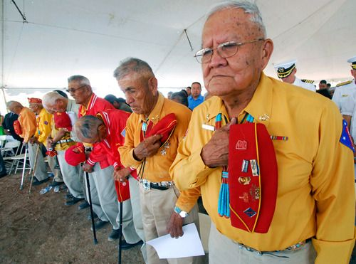 Navajo Code Talkers - HEROES of WWII. These amazing, intelligent,  BRAVE warriors helped turn the tide of the war and were on missions with the Marines in the Pacific. Their code remained unbroken. Our hackable technology today could never live up to that standard. They did a great service for this country (their country truly) and the world. And they protected us with the very language they were forbidden to use and beaten for during the EVIL boarding school times! These warriors did what…