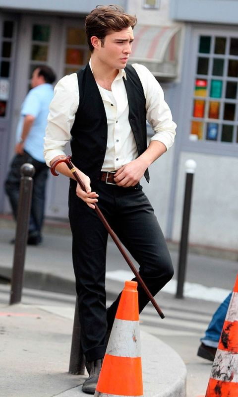 Chuck Bass, Played By Ed Westwick, With A Walking Stick In Paris, 2010