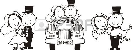 set of isolated cartoon couple scenes, ideal for funny wedding invitation