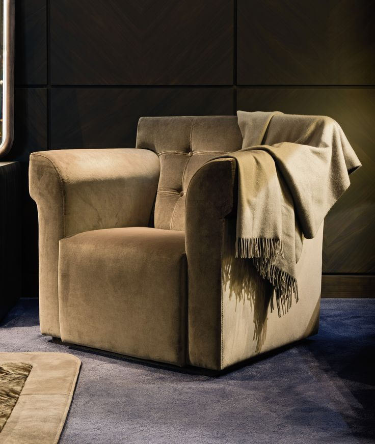 Attractive CHURCHILL Small Armchair In Fumè Angelico Velvet Fabric