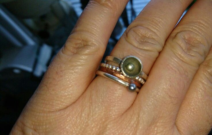 Handmade by Gallegal,  silver and copper ring,  stapelringetjes,  parel,  kommetje.