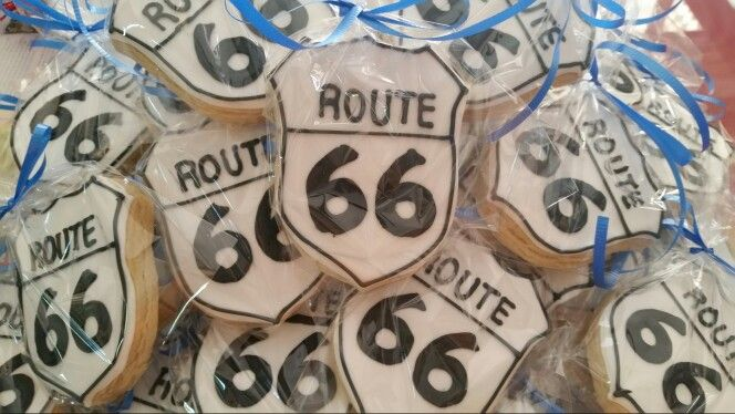 #Route66 sugar cookies #vintage #car theme birthday party