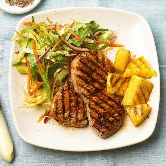 pineapple: Food Recipes, Pork Chops Recipes, Pork Recipes, Side Dishes, Chilis Slaw, Maine Dishes, Healthy Dinners Recipes, Slaw Recipes, Grilled Pineapple