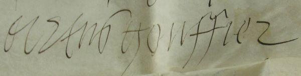 Signature d'Artus Gouffier.-Grand Officier de la Couronne, le Grand Maître est chargé de diriger toute l'activité de la Cour: il supervise les appointements du personnel, con,trôle les dépenses, garde les clefs des résidences royales et veille à la sécurité du roi. Il deveint en même temps le copnseiller le plus écouté de François 1°. C'est dans les négociations précédant la signature du Concordat de Boulogne, dans les derniers mois de 1515, que son rôle éclate pour la 1° fois au grand jour.