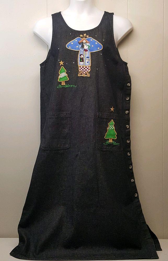 Quacker Factory LARGE Jumper Dress Black Jean Angel Snowmen Trees
