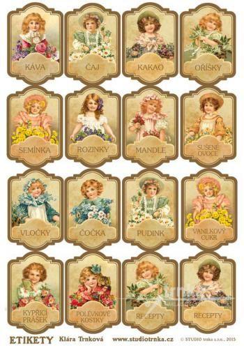 Samolepicí etikety 17, 1 arch, holčičky