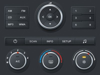 Awesome Dashboard elements. Take note US car dashboard designers- no italics on anything!