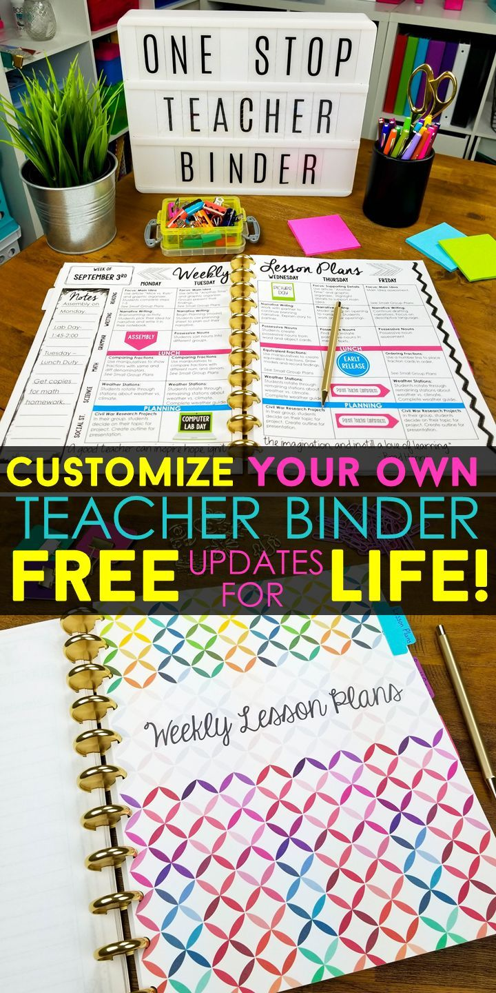 Teacher binder organization just got better! With FREE UPDATES for LIFE, this One Stop Teacher Binder has everything you need for classroom organization. This teacher planner has lesson plan templates, 70+ planner covers to choose from, lots of classroom forms, calendars, and more! Love that it is EDITABLE with FREE updates for LIFE!  Teacher Plan Book | Classroom Organization | Lesson Plan Templates | Teacher Planner Covers | Google Drive Teacher Planner | Google Drive Lesson Plan Templates