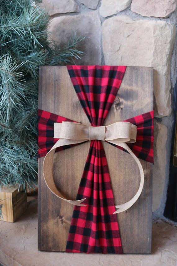 Rustic Buffalo Plaid Fabric Cross Wood Sign Wall by simpleandsage