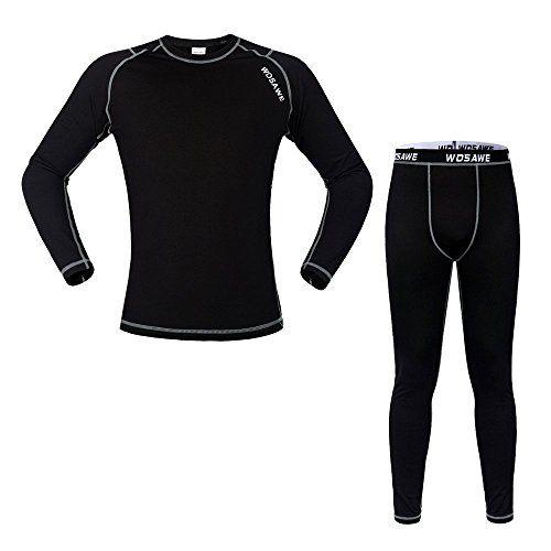 WOASAWE Mens Thermal Fleece Base Layer Shirt Pants Tights BlackB Set Size L *** Want additional info? Click on the image.