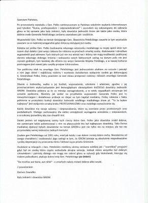 list otwarty płk rez. Dariusza Zawadki w sprawie wywiadu z gen. dyw. Romanem Polko | Fundacja Sprzymierzeni