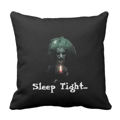#Sleep Tight... Scary Old Lady Throw Pillow - #Halloween #happyhalloween #festival #party #holiday