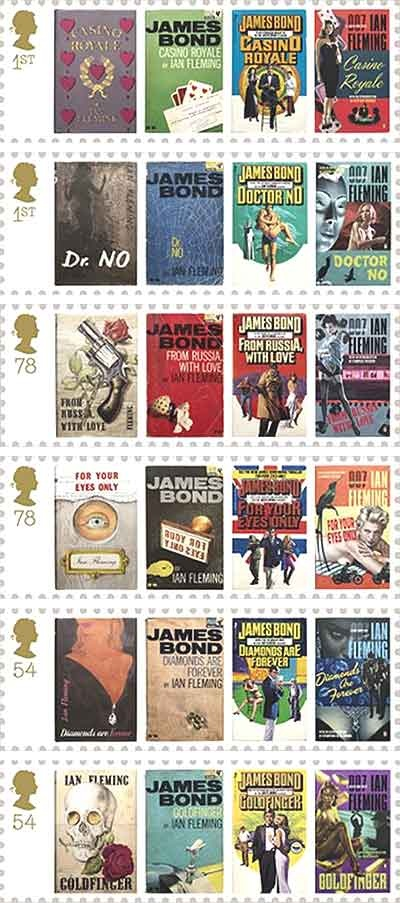 James Bond Stamp Collection.  When I was a boy I had, and still have now, the collection of books with the cover in the third column.  They were objects of such fascination to me.  I just loved those books, and those covers, and have been hooked ever since.