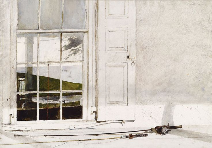 """""""Rod and Reel"""" by Andrew Wyeth. 1975 watercolor on paper. From the collection of Dr. and Mrs. James David Brodell, on loan to the National Gallery of Art for the Andrew Wyeth exhibition (2014)."""