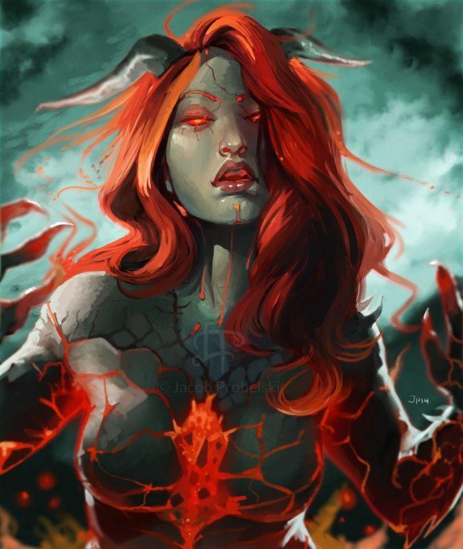 Ablaze by OchreJelly female fire elemental demon tiefling Genasi armor clothes…