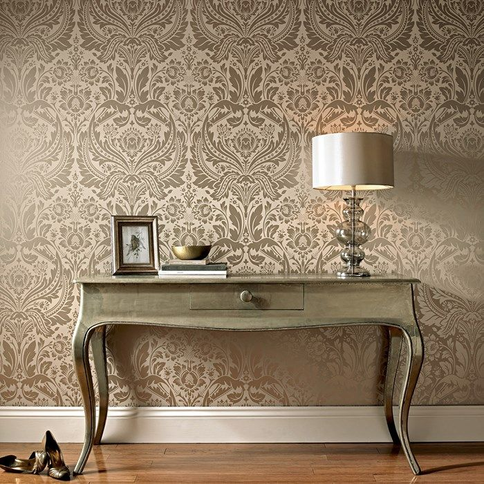 Desire Damask Wallpaper Designer Beige Wall