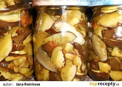 Houby ve vlastní šťávě II. recept - Čerstvé houby (1kg) si očistíme, nakrájíme…