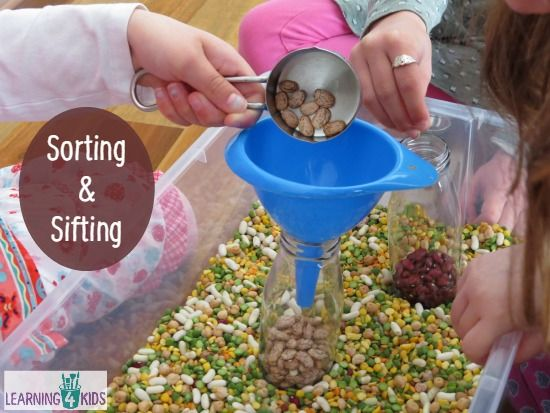 Sorting and Sifting Mixed Beans, Peas and Lentils Sensory Tub
